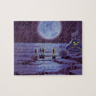 Vintage Science Fiction Aliens and Moon Rover Jigsaw Puzzles