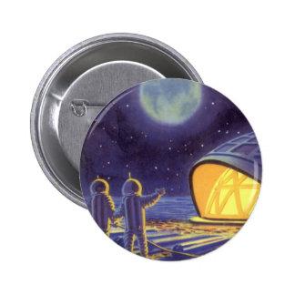 Vintage Science Fiction Aliens Blue Planet Moon Button