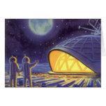 Vintage Science Fiction Aliens Blue Planet Moon Card