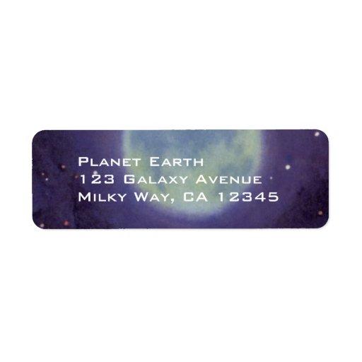 Vintage Science Fiction Aliens Blue Planet Moon Custom Return Address Label