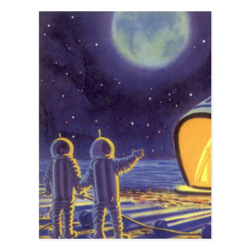 Vintage Science Fiction Aliens Blue Planet Moon Post Card