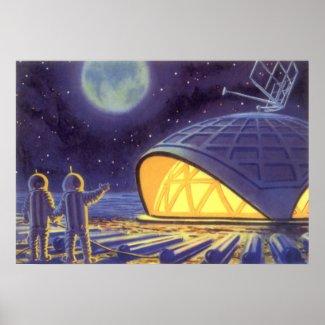 Vintage Science Fiction Aliens Blue Planet Moon Print