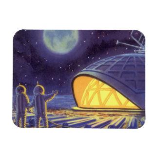 Vintage Science Fiction Aliens Blue Planet Moon Vinyl Magnet