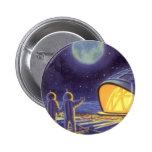 Vintage Science Fiction Aliens on Blue Planet Moon Button