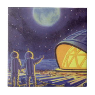 Vintage Science Fiction Aliens on Blue Planet Moon Ceramic Tile