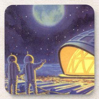 Vintage Science Fiction Aliens on Blue Planet Moon Coaster