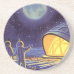 Vintage Science Fiction Aliens on Blue Planet Moon Coasters