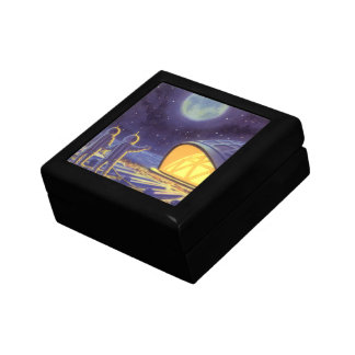 Vintage Science Fiction Aliens on Blue Planet Moon Jewelry Box