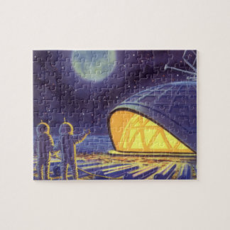 Vintage Science Fiction Aliens on Blue Planet Moon Jigsaw Puzzle