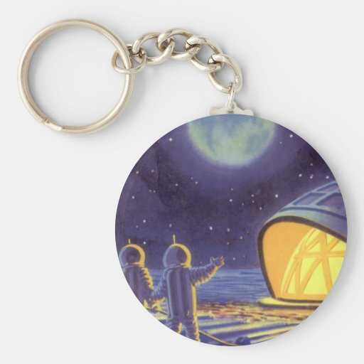 Vintage Science Fiction Aliens on Blue Planet Moon Keychain