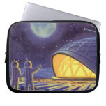 Vintage Science Fiction Aliens on Blue Planet Moon Laptop Computer Sleeves