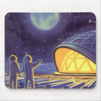 Vintage Science Fiction Aliens on Blue Planet Moon Mouse Pads