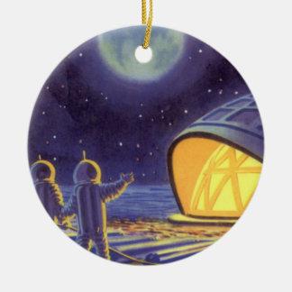 Vintage Science Fiction Aliens on Blue Planet Moon Ornaments