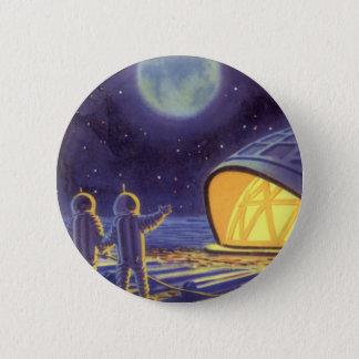 Vintage Science Fiction Aliens on Blue Planet Moon Pinback Button