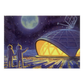 Vintage Science Fiction Aliens on Blue Planet Moon Poster