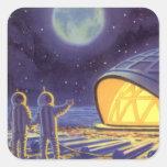 Vintage Science Fiction Aliens on Blue Planet Moon Square Sticker