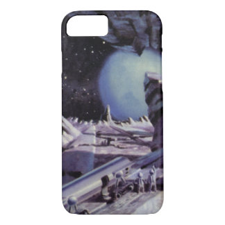 Vintage Science Fiction, Aliens on Moon in Space iPhone 7 Case
