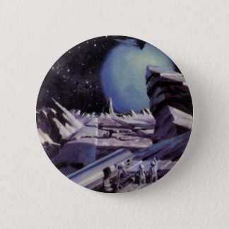 Vintage Science Fiction, Aliens on Moon in Space Pinback Button