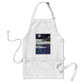 Vintage Science Fiction Aliens on the Moon Apron