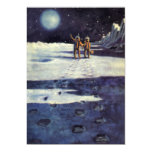 "Vintage Science Fiction Aliens on the Moon 5"" X 7"" Invitation Card"