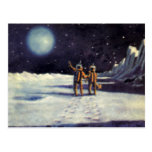 Vintage Science Fiction Aliens on the Moon Postcard