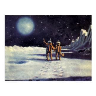 Vintage Science Fiction Aliens on the Moon Postcard