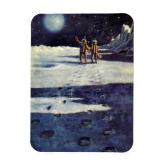 Vintage Science Fiction Aliens on the Moon Rectangular Photo Magnet
