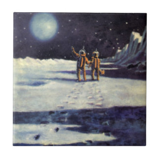Vintage Science Fiction Aliens on the Moon Small Square Tile