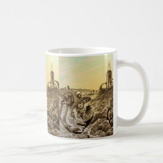 Vintage Science Fiction Aliens Planet Construction Coffee Mug