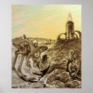 Vintage Science Fiction Aliens Planet Construction Poster