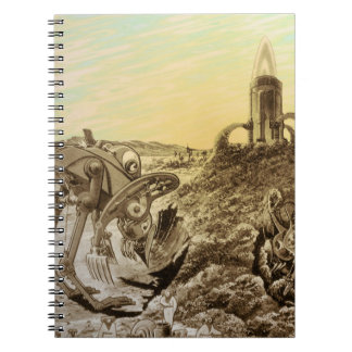 Vintage Science Fiction Aliens Planet Construction Spiral Notebook