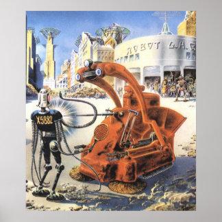 Vintage Science Fiction Aliens War Futuristic City Poster