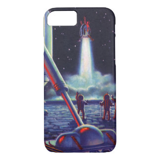 Vintage Science Fiction Aliens Wave to Rocket iPhone 8/7 Case