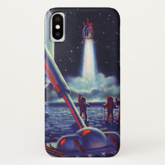 Vintage Science Fiction Aliens Wave to Rocket iPhone X Case