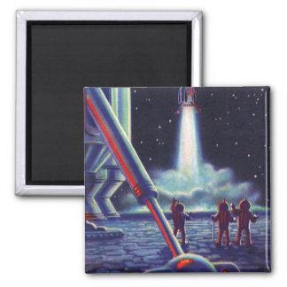 Vintage Science Fiction Aliens Wave to Rocket Magnet