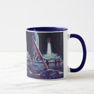 Vintage Science Fiction Aliens Wave to Rocket Mug