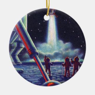 Vintage Science Fiction Aliens Wave to Rocket Ornament