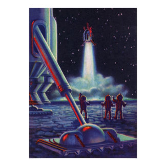 Vintage Science Fiction Aliens Wave to Rocket Poster