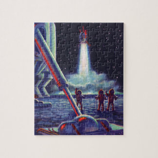 Vintage Science Fiction Aliens Wave to Rocket Jigsaw Puzzles