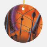 Vintage Science Fiction Aliens with a Orange Sun Christmas Tree Ornaments