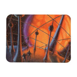Vintage Science Fiction Aliens with a Orange Sun Vinyl Magnet