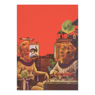 Vintage Science Fiction Aliens With Video Helmets 5x7 Paper Invitation Card