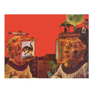 Vintage Science Fiction Aliens With Video Helmets Postcard