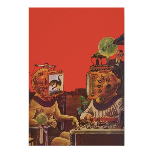 Vintage Science Fiction Aliens With Video Helmets Print