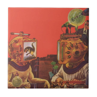 Vintage Science Fiction Aliens With Video Helmets Small Square Tile