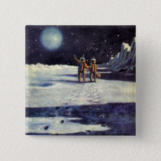 Vintage Science Fiction Astronaut Aliens on Moon Button
