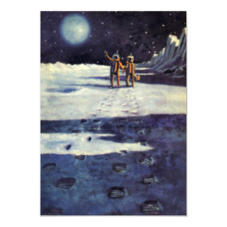 Vintage Science Fiction Astronaut Aliens on Moon Card