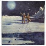 Vintage Science Fiction Astronaut Aliens on Moon Cloth Napkins
