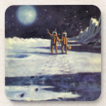 Vintage Science Fiction Astronaut Aliens on Moon Drink Coaster