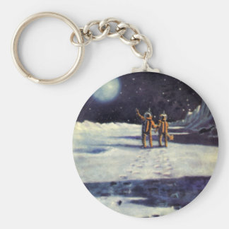 Vintage Science Fiction Astronaut Aliens on Moon Keychain